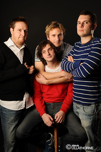 Cowards - Tim Key, Tom Basden, Stefan Golaszewski and (front) Lloyd Woolf. BBC4/Angle Eye