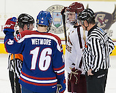 Jeff Bunyon, Riley Wetmore (UML - 16), Pat Mullane (BC - 11), Chris Aughe - The University of Massachusetts Lowell River Hawks defeated the Boston College Eagles 4-2 (EN) on Tuesday, February 26, 2013, at Kelley Rink in Conte Forum in Chestnut Hill, Massachusetts.
