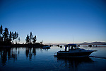 Stephanie and Fred Jackson launch their boat in Lake Tahoe at Sand Harbor to collect their crayfish traps near Incline Village, Nevada, July 8, 2012. The Jacksons are the first to commercially harvest crayfish in Lake Tahoe.