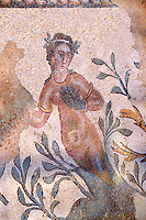 Roman mosaics of a nymph at the Villa Romana del Casale which containis the richest, largest and most complex collection of Roman mosaics in the world. Constructed  in the first quarter of the 4th century AD. Sicily, Italy. A UNESCO World Heritage Site.