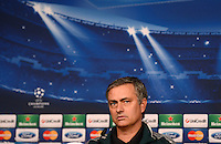 FUSSBALL  CHAMPIONS LEAGUE  ACHTELFINALE  HINSPIEL  2012/2013      CF Real Madrid - Manchester United          12.02.2013 Pressekonferenz Trainer Jose Mourinho (Real Madrid)