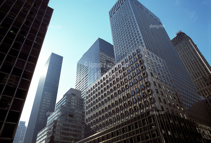 Midtown Manhattan Skyscrapers, New York City, Late Afternoon Light, Cold Day February 25, 1976