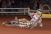 Heat 10: Doug Nicol crashes out - Hackney Hawks vs Team America - Speedway Challenge Meeting at Rye House - 09/04/11 - MANDATORY CREDIT: Gavin Ellis/TGSPHOTO - Self billing applies where appropriate - Tel: 0845 094 6026