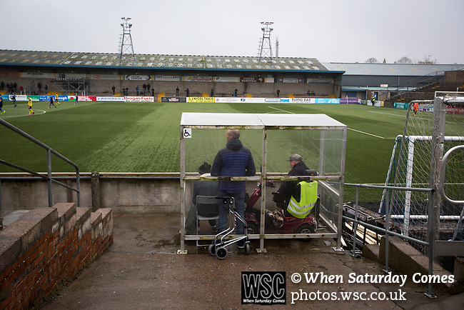 Forfar Athletic 1 Edinburgh City 2, 02/02/2017. Station Park, SPFL League 2. The disabled facilities at Station Park, Forfar pictured during the SPFL League 2 fixture between Forfar Athletic and Edinburgh City (yellow). It was the club's sixth and final meeting of City's inaugural season since promotion from the Lowland League the previous season. City came from behind to win this match 2-1, watched by a crowd of 446. Photo by Colin McPherson.