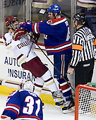 Johnny Gaudreau (BC - 13), Colin Wright (UML - 8) - The Boston College Eagles defeated the visiting University of Massachusetts Lowell River Hawks 6-3 on Sunday, October 28, 2012, at Kelley Rink in Conte Forum in Chestnut Hill, Massachusetts.