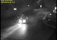 BNPS.co.uk (01202 558833)<br /> Pic: DorsetPolice/BNPS<br /> <br /> Moment of impact.<br /> <br /> This is the shocking moment a cyclist was thrown through the air like a rag doll after a teenage driver crashed into him before speeding off.<br /> <br /> CCTV footage captured the horrifying moment victim Jacek Szafranski somersaulted 10ft before landing in the road.<br /> <br /> The video then shows him lying motionless on the ground as callous Benjamin George, 19, drives away without stopping to check on his 34-year-old victim.<br /> <br /> A court heard the horrific collision happened at the end of a five hour course of wreckless driving by George in Bournemouth, Dorset.<br /> <br /> He drove the wrong way down a dual carriageway in a Vauxhall Tigra, jumped through red lights, dangerously overtook multiple cars, almost lost control on a roundabout and nearly struck a pedestrian as he ran a red light in the space of two and a half hours.