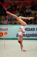 """Evgenia Kanaeva of Russia performs walkover with rope at 2008 World Cup Kiev, """"Deriugina Cup"""" in Kiev, Ukraine on March 22, 2008."""