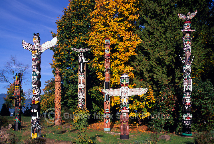 Totem Poles at Brockton Point in Stanley Park, Vancouver, BC, British Columbia, Canada, Autumn / Fall Colors