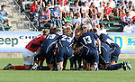 Virginia's starters huddle up before the start of the game on Sunday, November 6th, 2005 at SAS Stadium in Cary, North Carolina. The University of North Carolina Tarheels defeated the Virginia Cavaliers 4-1 in the Championship Game of the Atlantic Coast Conference Women's Soccer Tournament.