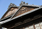 Photo shows a detail of the roof at Dogo Onsen, thought to be Japan's oldest spa in Matsuyama City, Ehime Prefecture, Japan on 20 Feb. 2013.  Photographer: Robert Gilhooly