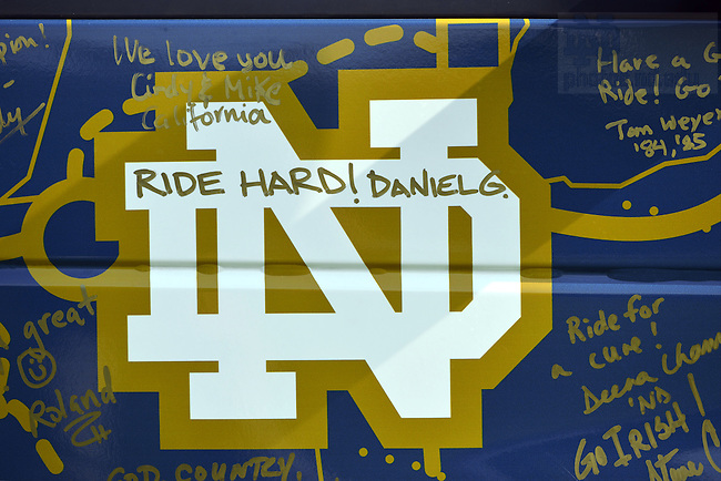 Jul. 5, 2012; Road to Discover van covered in signatures and messages after the ride...Photo by Matt Cashore/University of Notre Dame