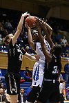 07 January 2016: Duke's Crystal Primm (center) is defended by Wake Forest's Elisa Penna (41) and Milan Quinn (32). The Duke University Blue Devils hosted the Wake Forest University Demon Deacons at Cameron Indoor Stadium in Durham, North Carolina in a 2015-16 NCAA Division I Women's Basketball game. Duke won the game 95-68.
