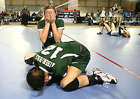 Gary Cosby Jr./Decatur Daily     Athens Bible School claimed the 1A state volleyball championship defeating Meek at Crossplex in Birmingham.  Athens Bible's Holly Persell (3) and Athens Bible's Loren Gilliam weep for joy after the final point.