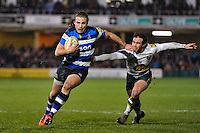 Max Clark of Bath Rugby takes on the Northampton Saints defence. Aviva Premiership match, between Bath Rugby and Northampton Saints on February 10, 2017 at the Recreation Ground in Bath, England. Photo by: Patrick Khachfe / Onside Images