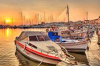 Sunset in the port of Aegina island, Greece