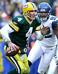 (2006)-Green Bay's Brett Favre looking for a receiver. .The Green Bay Packers hosted the Seattle Seahawks at Lambeau Field Sunday January, 1, 2006. Steve Apps-State Journal.