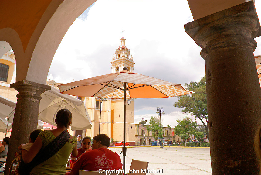 View from an outdoor restaurant under the portales, Cholula, Puebla, Mexico. Cholula is a UNESCO World Heritage Site.