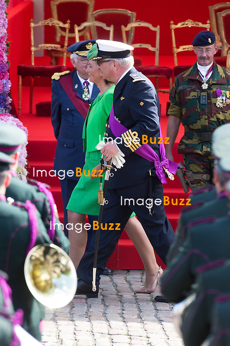 La princesse Claire de Belgique le prince Laurentl de Belgique assistent au d&eacute;fil&eacute; militaire, &agrave; l'occasion de la f&ecirc;te Nationale belge.<br /> Belgique, Bruxelles, 21 juillet 2015.<br /> Princess Claire of Belgium and Prince Laurent of Belgium attend the military parade on today's Belgian National Day.<br /> Belgium, Brussels, 21 July 2015.