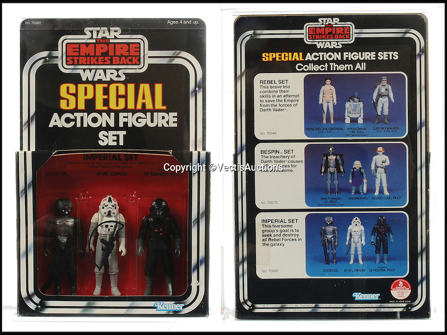 BNPS.co.uk (01202 558833)<br /> Pic: Vectis/BNPS<br /> <br /> Kenner Star Wars The Empire Strikes Back 3-Pack Series 3 Imperial sold for &pound;4,560.<br /> <br /> A tiny plastic rocket from a Star Wars action figure has sold for almost &pound;2,000 as part of a huge &pound;160,000 sale of rare toys relating to the film franchise.<br /> <br /> The red missile measures just 28mm long and was attached to the back of a prototype figure of bounty hunter Boba Fett.<br /> <br /> A complete prototype Boba Fett can sell for &pound;13,000 but thanks to a letter of authentication and grading by the Action Figure Authority (AFA), the small rocket made &pound;1,920 by itself at auction.<br /> <br /> It was one of almost 700 Star Wars lots that sold for &pound;160,000, with many toys that originally sold for &pound;1.50 achieving four-figure sums.<br /> <br /> With the release of Star Wars:The Force Awakens imminent, interest in memorabilia from the franchise has never been higher.