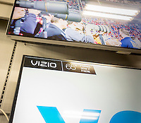 The popular Vizio brand flat-screen televisions in a Best Buy in New York on Monday, July 27, 2015. Vizio filed its Form S-1 with the SEC in preparation for an initial public offering. The company manufactures budget-friendly flat screen televisions available in over 8000 retailers in the U.S. It also tracks your watching habits on its internet enabled televisions collecting viewing habits which it can monetize to advertisers.  (© Richard B. Levine)