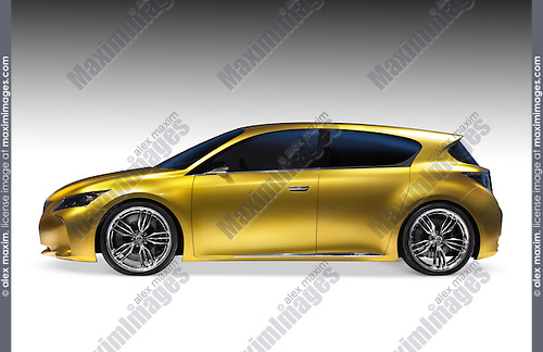 Gold shiny Lexus LF-Ch hybrid concept car. Isolated on white background with clipping path.