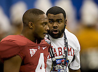 Mark Ingram of New Orleans Saints talks with Marquis Maze of Alabama before BCS National Championship game against LSU at Mercedes-Benz Superdome in New Orleans, Louisiana on January 9th, 2012.   Alabama defeated LSU, 21-0.
