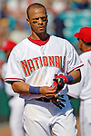 5 March 2006: Royce Clayton, infielder for the Washington Nationals, removes his batting gloves during a Spring Training game against the Baltimore Orioles. The Nationals defeated the Orioles 10-6 at Space Coast Stadium, in Viera Florida...Mandatory Photo Credit: Ed Wolfstein..