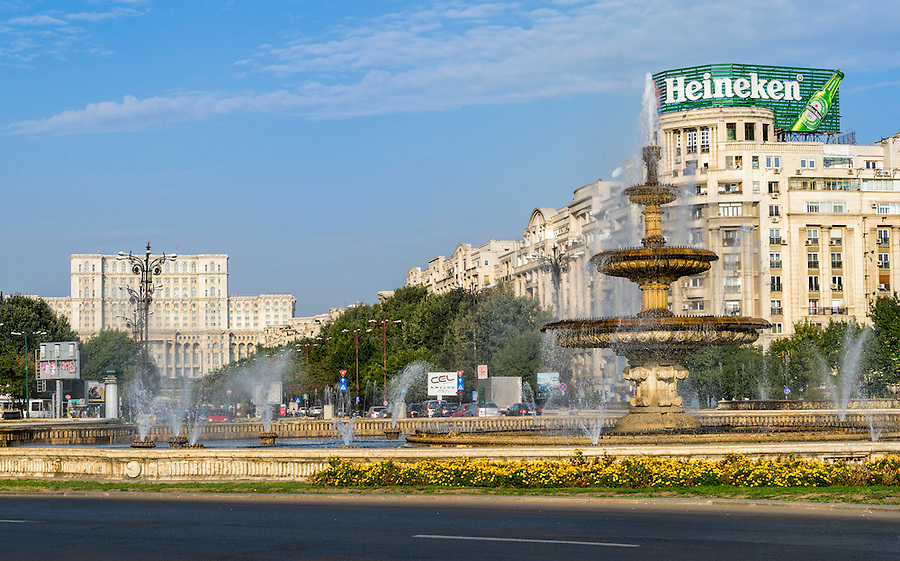 BUCHAREST, ROMANIA - September 29, 2012: View of the fountains in Piata Unirii, (Unification Square) located in the center of the city, is one of the largest squares in Bucharest.