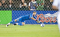 LOS ANGELES, CA – July 16, 2011: Goalie Brian Perk (24) of the LA Galaxy during the match between LA Galaxy and Real Madrid at the Los Angeles Memorial Coliseum in Los Angeles, California. Final score Real Madrid 4, LA Galaxy 1.