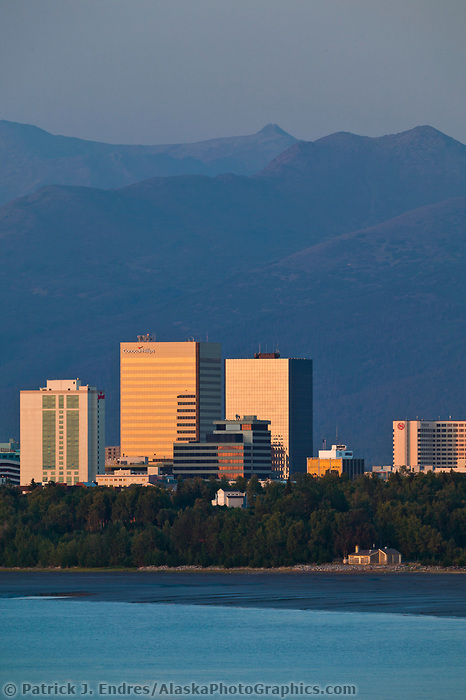 Anchorage Alaska city skyline, along the Cook Inlet at sunset. Anchorage, Alaska