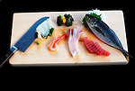 Slithers of sashimi, raw fish, are arranged for a photo in Tokyo, Japan.