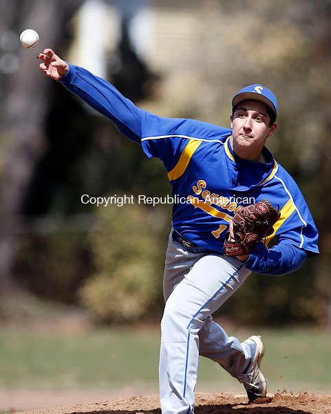 Seymour, CT- 11 April 2015-041115CM12-  Seymour's Mike Tacinelli delivers a pitch during their NVL matchup against Wolcott on Saturday.   Christopher Massa Republican-American
