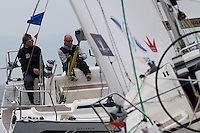 Ian Williams crosses in front of his opponent on day 2 of Match Race Germany. World Match Racing Tour. Langenargen, Germany. 21 May 2010.