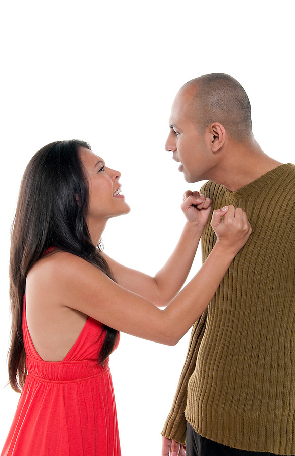 Young couple having an argument and fighting.