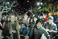 'Snow' falls at the Third Street Promenade during Winterlit Celebration and Tree Lighting ceremony on Monday, December 6, 2010.