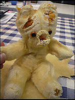 BNPS.co.uk (01202 558833)<br /> Pic: AlicesBearShop/BNPS<br /> <br /> Emma Thompson's bear half way through the surgery.<br /> <br /> Broken bears and deteriorating dolls from all over the world are being brought back to life by a UK team of dedicated doctors and nurses at one of the last remaining toy hospitals.<br /> <br /> The team at Alice's Bear Shop, a teddy bear and doll hospital in Lyme Regis, Dorset, perform all kinds of 'surgery' from simple restringing and re-stuffing to head re-attachments and complete skin grafts.<br /> <br /> Rikey Austin, 49, opened the hospital in January 2000 but also ran a shop and only repaired one or two toys a month.<br /> <br /> Now she has a four-month waiting list for patients and has had to close the shop to focus on the hospital side of the business.