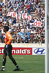 24 August 2003: Freedom fans celebrate behind Beat goalkeeper Briana Scurry after Abby Wambach's goal in the seventh minute. The Washington Freedom defeated the Atlanta Beat 2-1 in golden goal overtime to win the WUSA Founders Cup III championship game played at Torero Stadium in San Diego, CA.