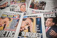 Several days New York newspaper covers seen on Friday, January 10, 2014 feature New Jersey Governor Chris Christie's news conference about his and his staff's involvement in the closing of lanes on the George Washington Bridge during rush hours in Sept. 2013 as punishment for Ft. Lee, NJ Mayor Mark Sokolich not supporting him. Christie had an almost 2-hour press conference defending himself and blaming his staff for the alleged retribution.  (© Richard B. Levine)