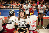 Chicle takes a rest during a bout between Putas del Fuego and Hellcats at the Palmer Events Center in Austin, Texas.