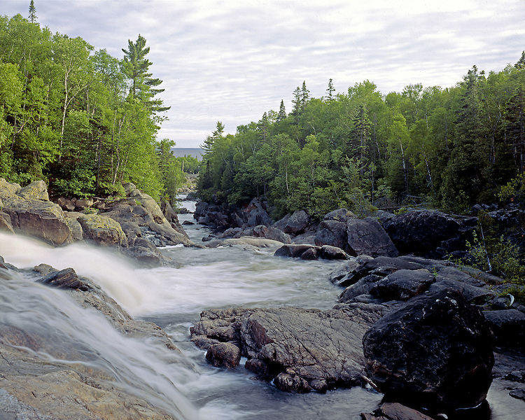 Sand River Falls and Lake Superior, Ontario, Canada, June, 1987