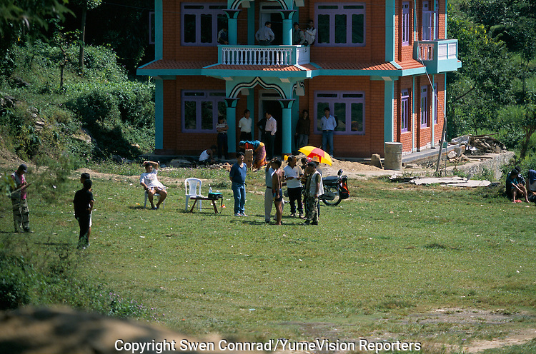 Recruitment by the British army of young Gorkhas in the suburb of Gorkha city..-The full text reportage is available on request in Word format