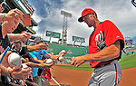 9 June 2012: Washington Nationals pitcher Stephen Strasburg signs autographs prior to a game against the Boston Red Sox at Fenway Park in Boston, MA. The Nationals defeated the Red Sox 4-2 in the second game of their 3-game series. Mandatory Credit: Ed Wolfstein Photo