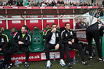 Hibernian 3 Alloa Athletic 0, 12/09/2015. Easter Road stadium, Scottish Championship. Home team manager Alan Stubbs sipping a drink at Easter Road stadium before the kick-off in the Scottish Championship match between Hibernian and visitors Alloa Athletic. The home team won the game by 3-0, watched by a crowd of 7,774. It was the Edinburgh club's second season in the second tier of Scottish football following their relegation from the Premiership in 2013-14. Photo by Colin McPherson.