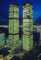 Twin Towers of the World Trade Center at Twilight,  designed by Minoru Yamasaki, Manhattan, New York City, New York, USA