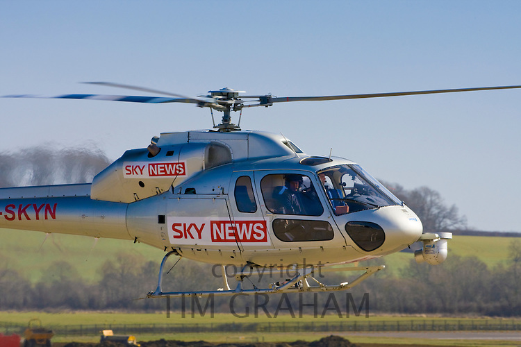 Sky News helicopter on newsgathering flight over Britain, UK