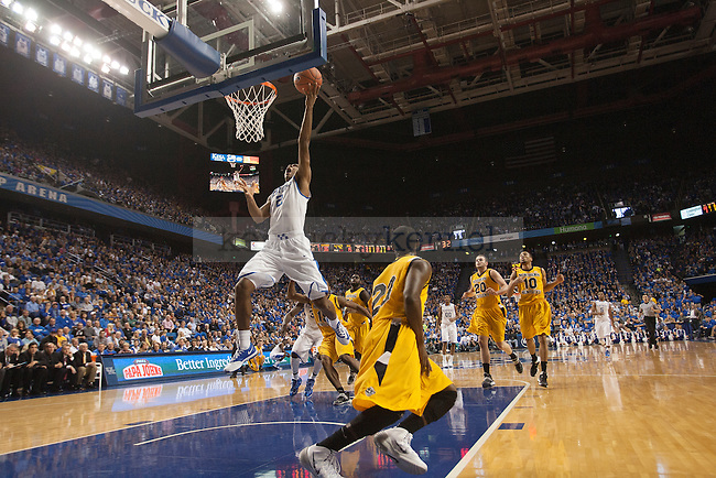 Guard Aaron Harrison scores during the first half of the UK vs. NKU men's basketball game at Rupp Arena in Lexington, Ky., on Sunday, November 10, 2013. UK defeated NKU 93-63. Photo by Michael Reaves | Staff