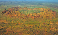 Aerial view of Gosses Bluff meteor crater (5 km diameter with a rim 200 m high). Central Australia.