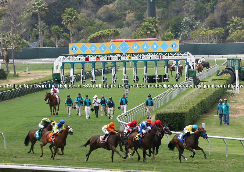 Turf Racing at Del Mar Thoroughbred Club in Del Mar, CA.  July 24, 2011