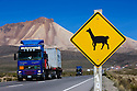 Bolivia, Altiplano, llamas sign at highway between Arica/Chile and La Paz/Bolivia. This highway is a vital connection between land-locked Bolivia and the harbor city Arica at the Pacific Ocean