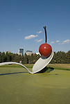 Minnesota, Twin Cities, Minneapolis-Saint Paul: Sculpture Spoonbridge and Cherry by Claes Oldenburg at the Minnesota Sculpture Garden next to the Walker Art Center..Photo mnqual206-74970..Photo copyright Lee Foster, www.fostertravel.com, 510-549-2202, lee@fostertravel.com.